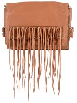 Rebecca Minkoff Leather Fringe Clutch - BROWN - STYLE