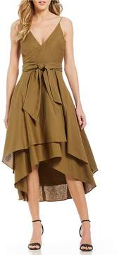C/Meo Vision Of You Hi-Low Faux Wrap Tiered Tie Front Midi Dress