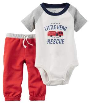 Carter's Baby Clothing Outfit Boys 2-Piece Bodysuit & Pant Set Little Hero NB