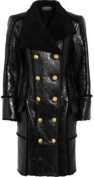 Balmain Double-breasted Glossed-shearling Coat - Black