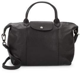 Longchamp Le Pliage Cuir Leather Handbag - BLACK - STYLE