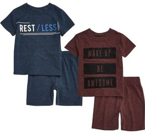 River Island Mini boys blue and red shorts pajamas pack