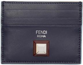 Fendi Navy and Tan Single Stud Card Holder