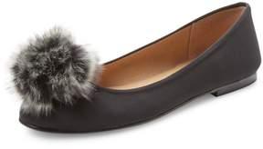 French Sole Women's Agate Faux Fur Pom-Pom Flat
