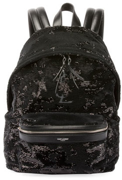 Saint Laurent Mini City Paillette-Embroidered Backpack, Black - BLACK - STYLE
