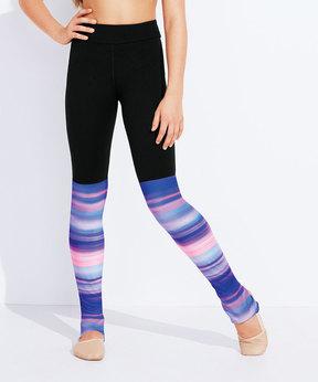 Capezio Black & Purple Stripe Lexa Leggings - Girls
