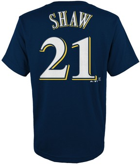 Majestic Boys 4-18 Milwaukee Brewers Travis Shaw Player Name and Number Tee