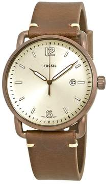 Fossil The Commuter Cream Dial Brown Leather Men's Watch