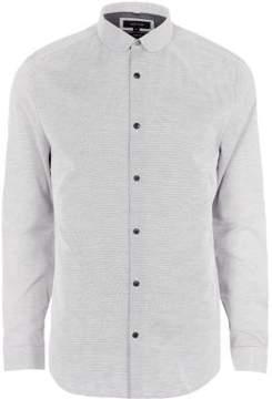 River Island Mens Grey penny collar slim fit shirt