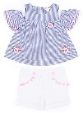 Little Lass Toddler Girls' Cold Shoulder Striped Blouse & French Terry Shorts, 2Pc Outfit Set