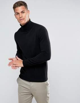 Benetton 100% Merino Roll Neck Sweater In Black