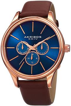 Akribos XXIV Mens Brown Strap Watch-A-870rgbu