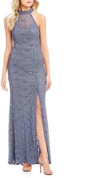 B. Darlin Mock Neck Sequin Lace Long Dress