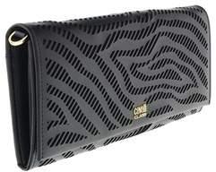 Roberto Cavalli Long Size Wlt W/strap Audrey 8 Black Wallet.