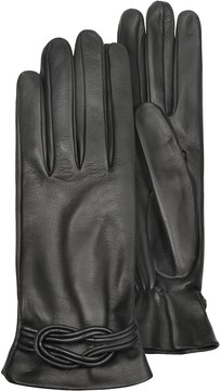 Forzieri Women's Black Leather Gloves w/ Knot