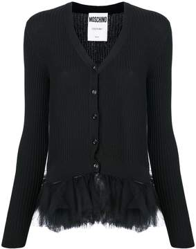 Moschino tulle peplum ribbed-knit cardigan