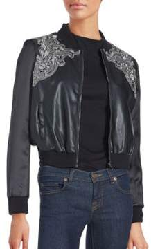Bagatelle Brocade Faux Leather Bomber Jacket