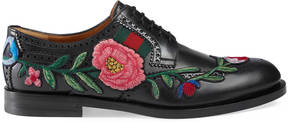 Leather brogue lace-up with embroidery
