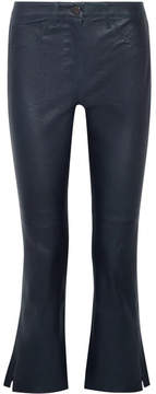 3x1 W2 Split Bell Crop Leather Flared Pants - Navy
