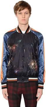 Fireworks Print Satin Souvenir Jacket