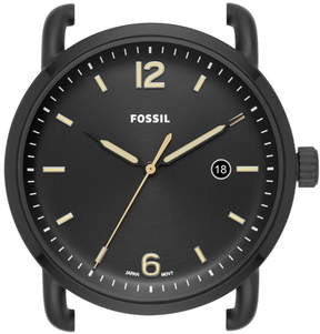 Fossil The Commuter Three-Hand Date Black Stainless Steel Watch Case