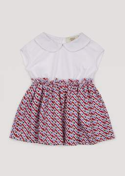 Armani Junior Cotton Dress With Printed Muslin Skirt