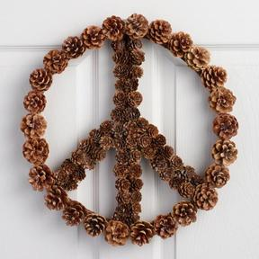 World Market Pinecone Peace Sign Wreath