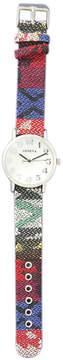 MOP OLIVIA PRATT Olivia Pratt Womens Silver-Tone Faux Dial Blue-Red Patterned Fabric Strap Watch 10352Tr