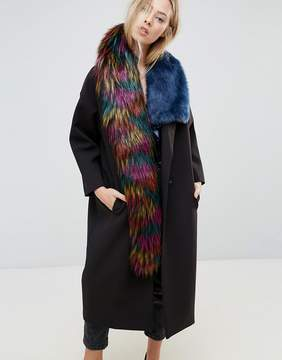 Asos Faux Fur High Low Tipped Bright Scarf