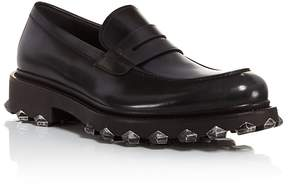 Salvatore Ferragamo Men's Darsen Leather Loafers with Injected Rubber Spikes