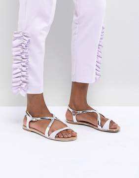 Call it SPRING Silver Flat Sandals