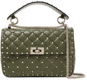 Valentino Garavani The Rockstud Spike Quilted Leather Shoulder Bag - Dark green