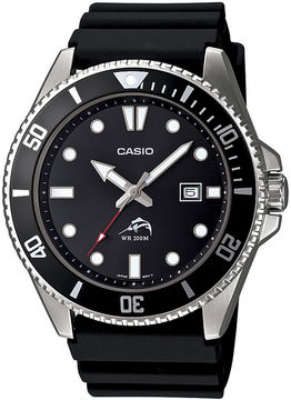 Casio Mens Black Resin Strap Watch MDV106-1A