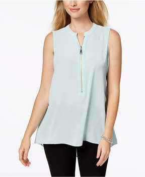 Alfani Solid Zip-Up High-Low Top, Created for Macy's