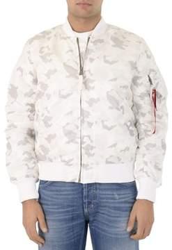 Alpha Industries Men's White Polyester Outerwear Jacket.