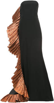 Christian Siriano strapless ruffled detail gown