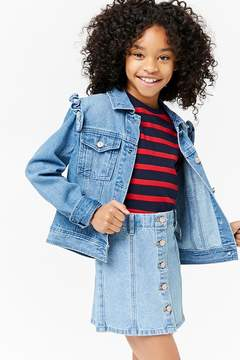 Forever 21 Girls Ruffled Denim Jacket (Kids)