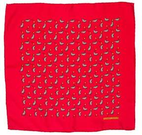 Hermes Silk Seal Trick Print Pocket Square