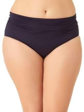 Anne Cole Plus Color Blast Shirred Waist Swim-Bottom