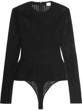 Cinq à Sept Paige Open-Knit And Tulle Bodysuit