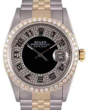 Rolex Datejust 18K Yellow Gold & Stainless Steel Black Bull Eye Tuxedo Diamond Dial 36mm Mens Watch