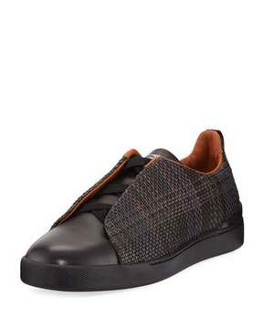 Ermenegildo Zegna Couture Pelle Tessuta Leather Triple-Stitch Sneaker