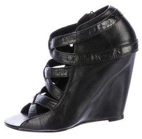 Elizabeth and James Leather Wedge Sandals