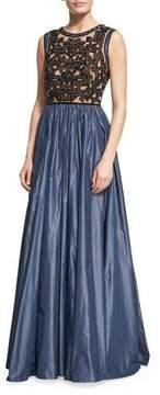 Jenny Packham Beaded Evening Gown with Taffeta Skirt, Black/Smoke Gray