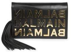 Balmain Goldtone Logo Leather Chain Shoulder Bag