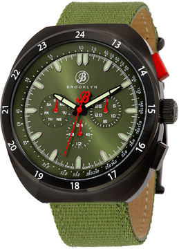 Co Brooklyn Watch Brooklyn Floyd Green Dial Green Canvas Men's Multifunction Watch