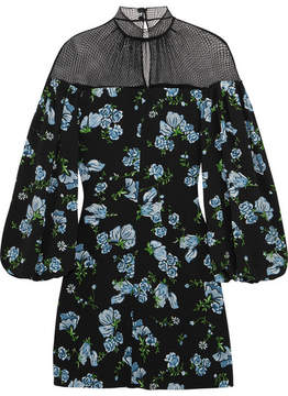 Emilia Wickstead Femie Mesh-paneled Printed Crepe Mini Dress - Black