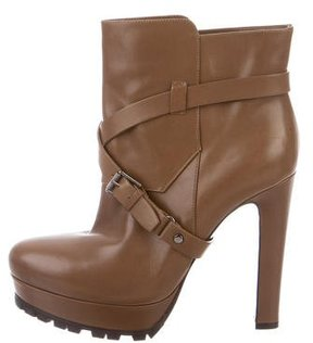 Belstaff Leather Platform Ankle Boots