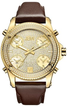 JBW Jet Setter Gold-tone Steel Diamond Brown Leather Strap Men's Watch
