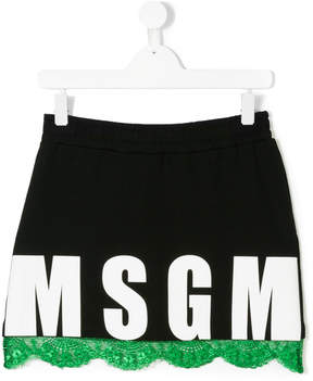 MSGM TEEN logo lace trim mini skirt